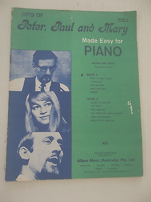 peter paul and mary vintage easy piano guitar sheet music book