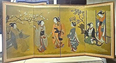 "Antique SIGNED Japanese Four-Panel Screen ""gold""circa 1940's"" HAND PAINTED~rare"