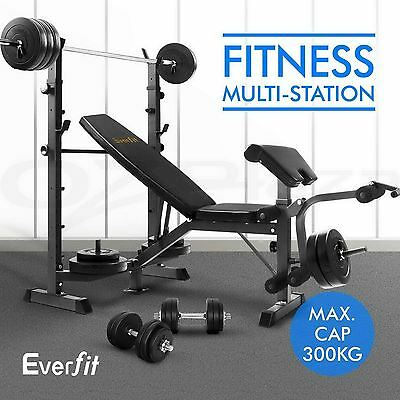 EVERFIT Adjustable Multi Station Weight Press Bench Home Gym Fitness Workout Blk