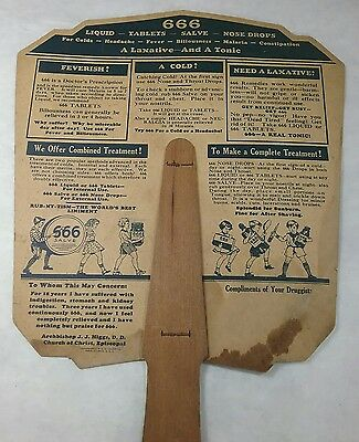 Antique Advertising Hand Fan 666 for Colds And Malaria Liquid Tablets Quack Med