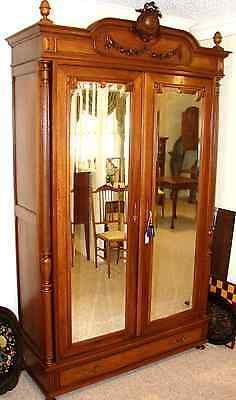 French Armoire 1820's Solid Walnut Wardrobe, Storage, Origional Beveled Glass