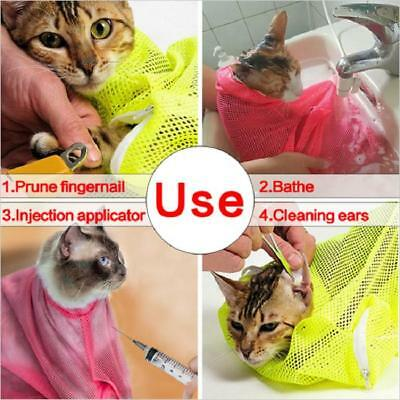 Pet Cat Grooming Nail Clipping Bathing Restraint Bag No Bite Scratch Fitted Mesh