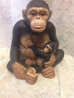 Cute Mother And Baby Monkey Resin Figurine Unbranded
