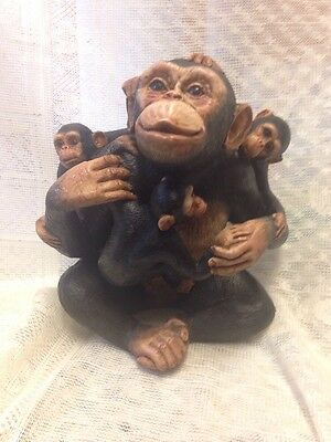 Cute Loving Family Animal Monkey Resin Figurine Unbranded