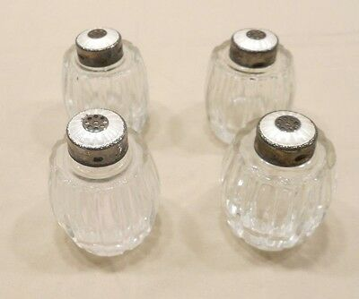 Meka Sterling, Denmark, Glass And Sterling Salt And Pepper Shakers, Lot Of 4