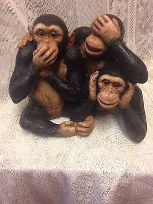 Adorable Hear See Speak No Evil Monkey Resin Figurine Unbranded