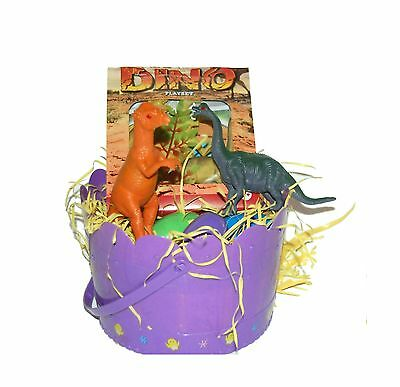 Children's Toy Dinosaur Easter Gift Basket Playset Surprised Filled Eggs ... New