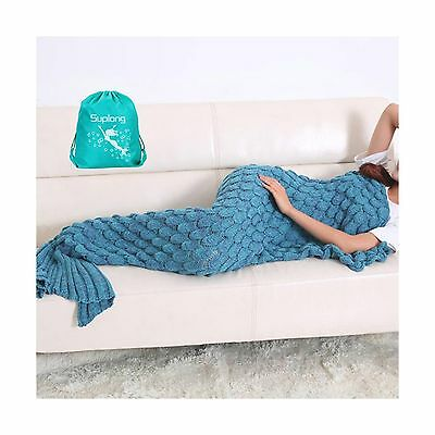 Mermaid Tail Blanket AIGUMI Handmade Knitted Blankie Tails Warm Sofa Quil... New