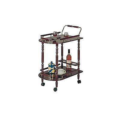 2-Tier Serving Cart Cherry Wood Finish New