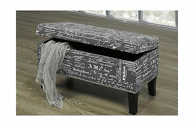 French Script Fabric Lounger & Storage Bench Grey Fabric Espresso Wood Le... New
