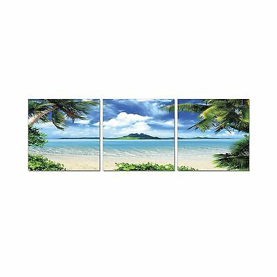 Furinno SENIK Coconut Tree Scenery 3-Panel MDF Framed Photography Triptyc... New