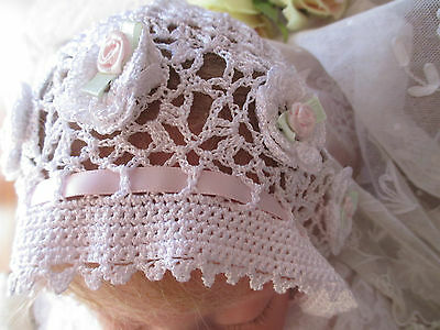 Fine Silky Rayon Crocheted Victorian Style Bonnet To Fit 0-3 Month Old Infant