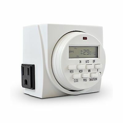 Comforday 7-Day Programmable Digital Timer with Two Grounded Outlets plus... New