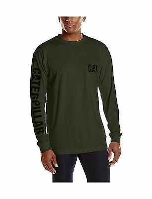 Caterpillar Men's Big & Tall Trademark Banner Long Sleeve Tee Forest Green New