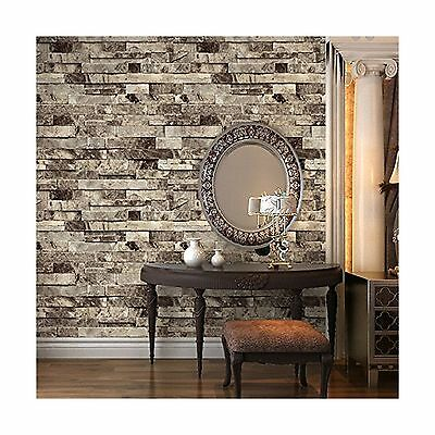 HaokHome 91301 Modern Faux Brick Stone Textured Wallpaper Roll Grey Multi... New