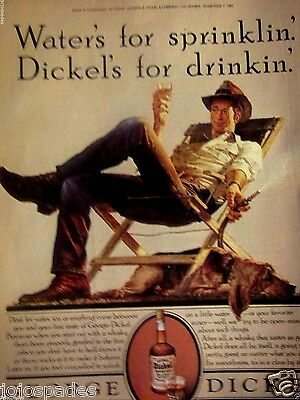 1982 George Dickel Original Print Ad-Coondog-Water's For Sprinklin-8.5 x10.5""