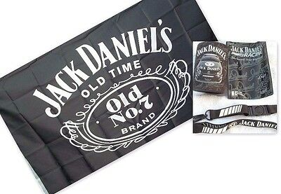 Jack Daniels Flag & Stubbie / Can Holder With Lanyard & Card Holder Boxed New
