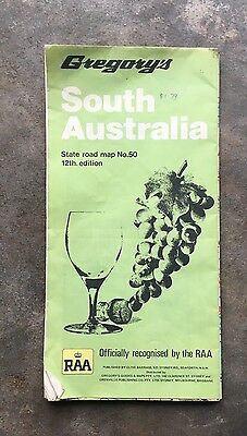 Old Vintage Map of South Australia by Greggorys State Road Map No 50