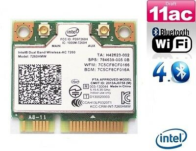 + Intel Wireless-AC 7260 802.11ac 867Mbit/s WLAN+Bluetooth Mini PCI Express +