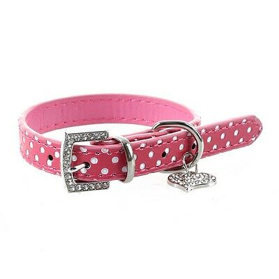 Rhinestone PU Leather Adjustable collar for Dog Cat Pet Pink XS SN
