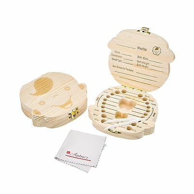 Antner Baby Tooth Box Save Wooden Deciduous Souvenir Case Teeth Keepsake ... New