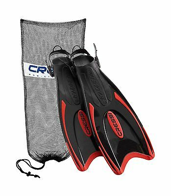 Cressi Palau Long Scuba Snorkeling Fin with Mesh Bag Red, with Mesh Bag New