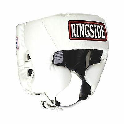 Ringside Competition Boxing Headgear with Cheeks (White Large) White New