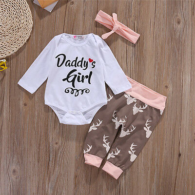 3PCS Set Newborn Baby Girls Bodysuit Top Romper Pants Outfits+Headband Clothes