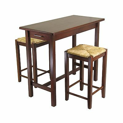 Winsome Wood Kitchen Island Table with 2 Rush Seat Stools 2 Cartons 3-Pie... New