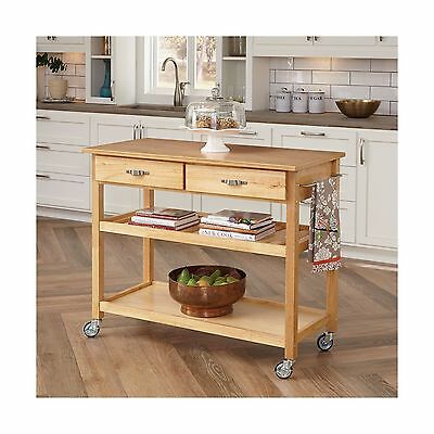 Home Styles 5216-95 Solid Wood Top Kitchen Cart Natural Finish New