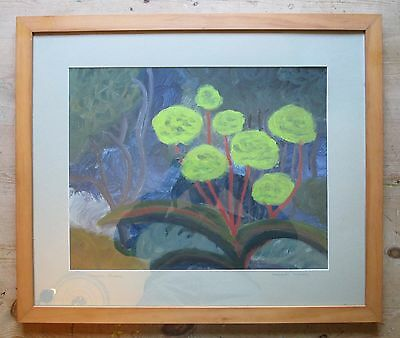Original Vintage 20th Century Abstract Floral Flowers Painting-Signed