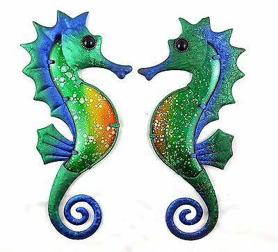 Tropical Seahorse Metal Hanging Wall Art Fish Blue Green Sealife Sculpture 36cm