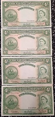 BAHAMAS 4 Shillings GEM UNCIRCULATED Banknotes SEQUENTIAL Serial Numbers 4pcs