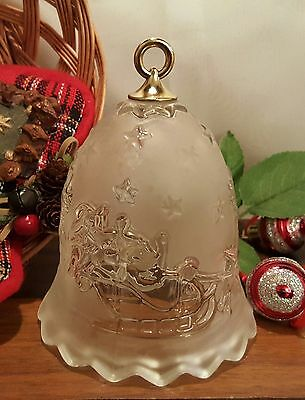 """Silent Night MIKASA Bell Clear and Frosted Glass Santa Reindeer 5.75"""" Germany"""