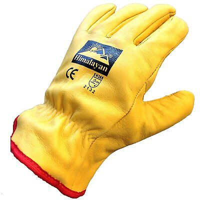 10 X Pairs Himalayan H310 Mens Work Driver Gloves Leather Thermal Fleece Lining