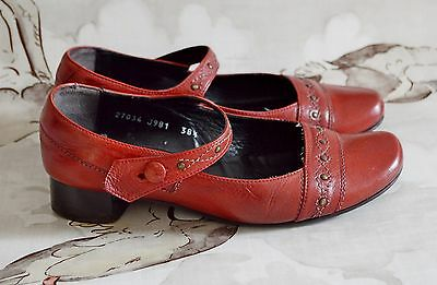 FIDJI red leather dolly shoes  RETRO VINTAGE 1940's 50's low block heel 5.5 38.5