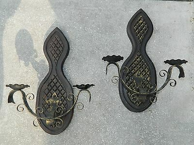PAIR of VINTAGE WROUGHT IRON WALL SCONCE DOUBLE CANDLE HOLDERS Gothic Meidieval