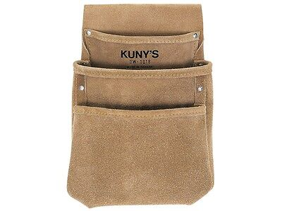 Kunys DW1018 Split Grain Leather 3 Pocket Drywall Nail Tool Belt Pouch Holder