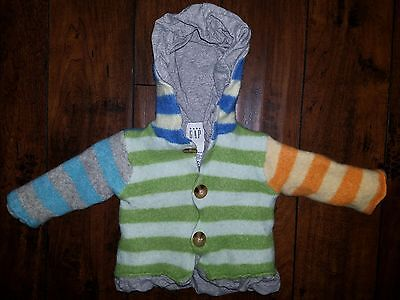 BABY GAP Baby Girl Boy Striped Lambswool Fully Lined Coat Size 18-24 Months