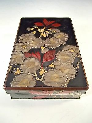 Japanese Meiji Period Silver And Lacquer Box