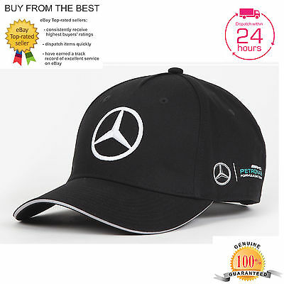 2017 Official Black Mercedes Petronas Amg Team Cap F1 Baseball Lewis Hamilton