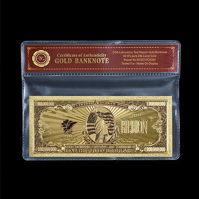 WR Colorful USA Banknote Gold $1 BILLION Bill Polyester Note with Free COA Case