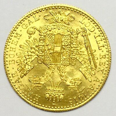 1915 AUSTRIAN GOLD DUCAT 1 Official Restrike - Highest Purity of Gold 23 3/4 ct