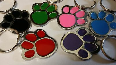 ENGRAVED Designer Pet Tag Nickel and Enamel Paw Print DEEP microchip Cat Dog ID