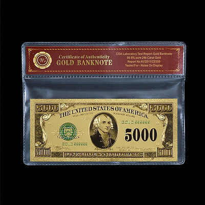 WR Color Gold US Banknote $5000 Dollar Bill Free Certificate Sleeve