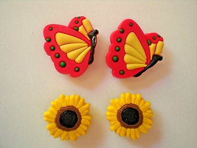 Shoe Charms Decoration For Wristbands Kids Gifts Sun Flower Red Butterfly