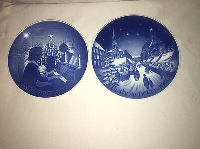 Lot 2 Plates Bareuther Holiday Plate Christmas Market & Christmas at Home 1971