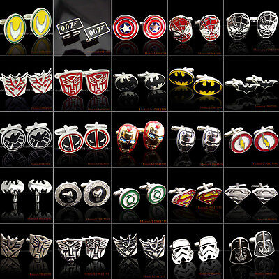 Hero Cufflinks Mens Wedding Marvel Superman Spiderman Ironman Batman Star Wars