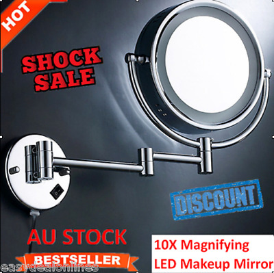 """Bathroom Bedroom 8.5"""" Wall Mounted LED Double Side 10X Magnifying Makeup Mirror"""