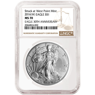 2016 (W) $1 American Silver Eagle NGC MS70 Brown Label